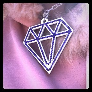 Huge Purple And White Diamond Shaped Necklace!